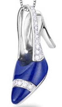 Diamond high heel shoe necklace