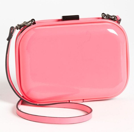 Natasha Couture Patent Box Clutch Pink