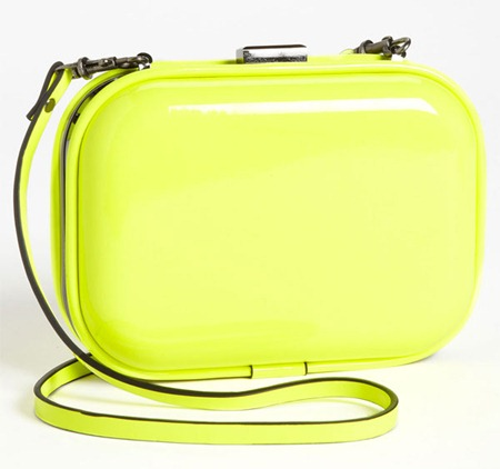 Natasha Couture Patent Box Clutch Yellow